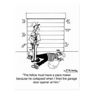 Killed By A Garage Door Opener Postcard