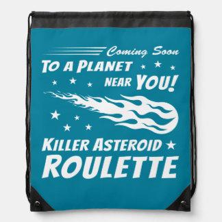 Killer Asteroid Roulette - Geek Astronomy Drawstring Backpacks