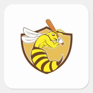 Killer Bee Baseball Player Bat Crest Cartoon Square Sticker