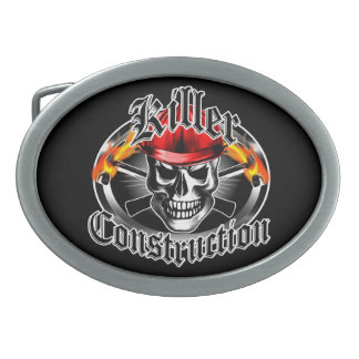 Killer Construction Skull 3 Oval Belt Buckle