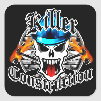 Killer Construction Skull with Hard Hat Square Sticker
