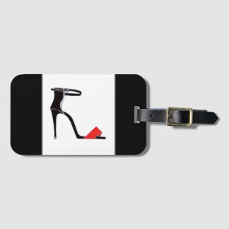 Killer heel on black luggage tag