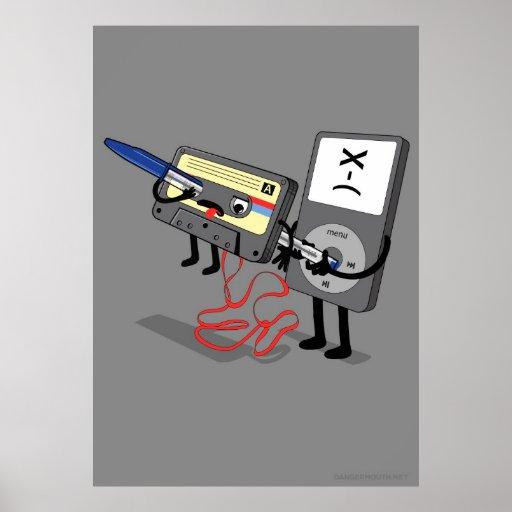 Killer Ipod Clipart (Retro Floppy Disk Cassette) Print