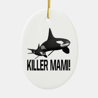 Killer Mami Double-Sided Oval Ceramic Christmas Ornament