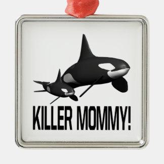 Killer Mommy Square Metal Christmas Ornament