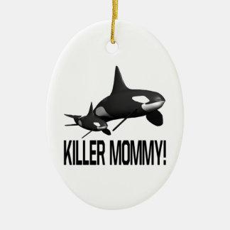 Killer Mommy Double-Sided Oval Ceramic Christmas Ornament
