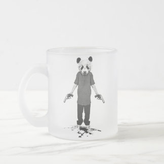 Killer panda frosted glass coffee mug