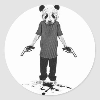 Killer panda round stickers