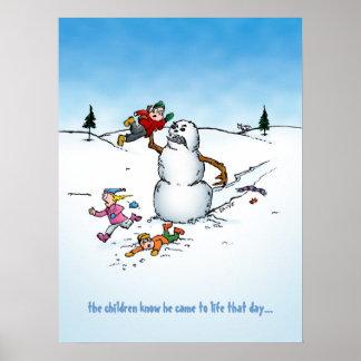 Killer Snowman Cartoon Poster