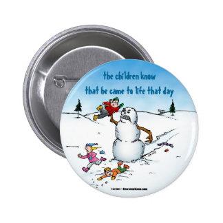 Killer Snowman Funny Cartoon Button