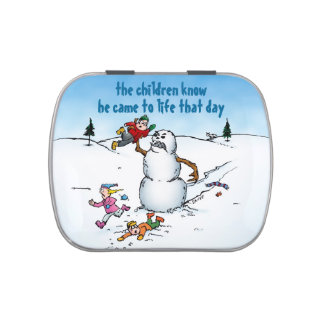 Killer Snowman Funny Cartoon Candy Tin