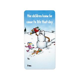 Killer Snowman Funny Cartoon Gift Labels