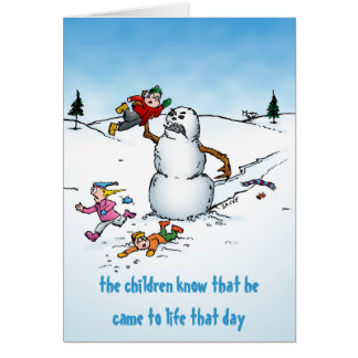 Killer Snowman Funny Cartoon Holiday Card