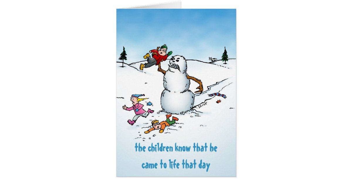 killer snowman funny cartoon holiday card