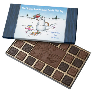 Killer Snowman Funny Cartoon Illustration Holiday 45 Piece Box Of Chocolates