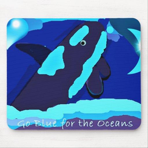 Killer whale blue for ocean mousepad