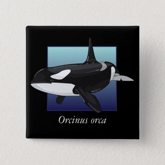 Killer Whale Button, Square Pinback Button