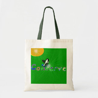 Killer whale conserve the earth bag budget tote bag