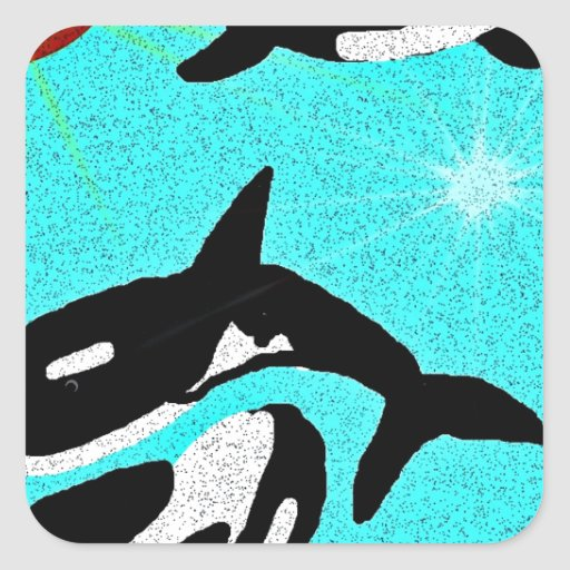 Killer Whale Dancing for life collectionA Square Sticker