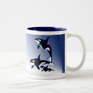 Killer Whale Family,_Mugs Two-Tone Coffee Mug