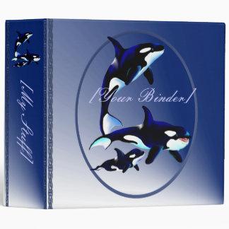 Killer Whale Family Oval binder_2_back.v4. 3 Ring Binder