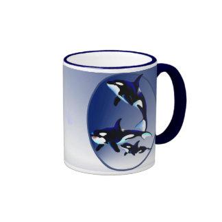 Killer Whale Family Oval_Mugs Coffee Mugs