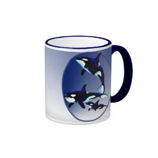 Killer Whale Family Oval_Mugs Ringer Mug