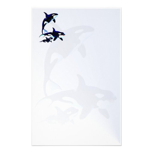 Killer Whale Family stationery2_vertical.v2. Customized Stationery