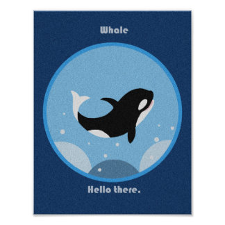 Killer Whale hello there Poster Jumping Orca art