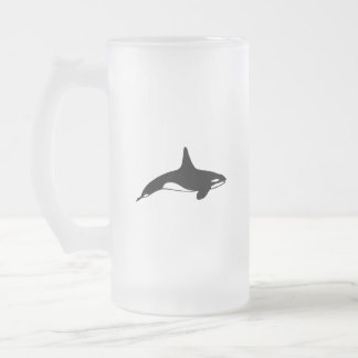 Killer whale in black and white frosted glass beer mug