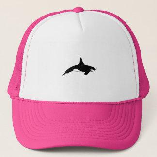 Killer whale in black and white trucker hat
