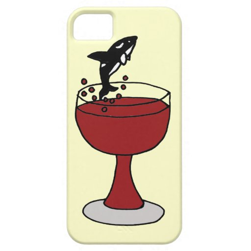 Killer Whale Jumping in Red Wine Glass iPhone 5 Cases