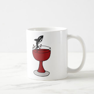 Killer Whale Jumping in Red Wine Glass Coffee Mug