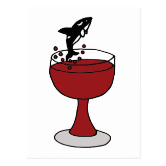 Killer Whale Jumping in Red Wine Glass Postcard