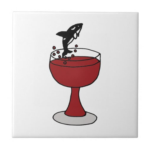 Killer Whale Jumping in Red Wine Glass Tile