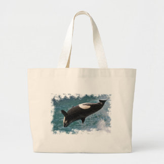 Killer whale jumping out of water canvas bag