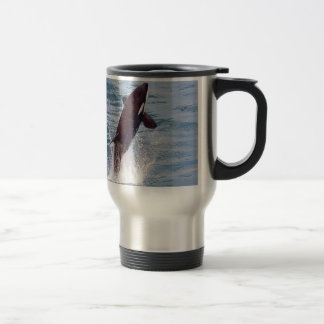 Killer whale jumping out of water travel mug