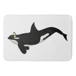 Killer Whale Listening To music Yellow Headphones Bathroom Mat