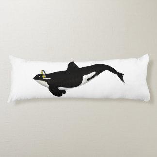 Killer Whale Listening To music Yellow Headphones Body Pillow