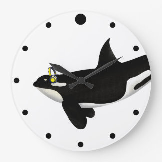 Killer Whale Listening To music Yellow Headphones Large Clock