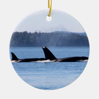 Killer Whale Mother and Son Ceramic Ornament