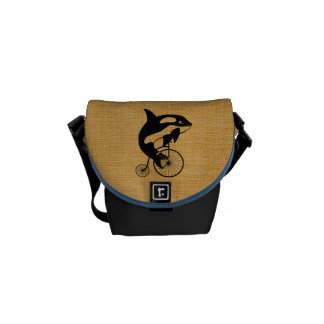 Killer Whale on Vintage Bicycle Courier Bags