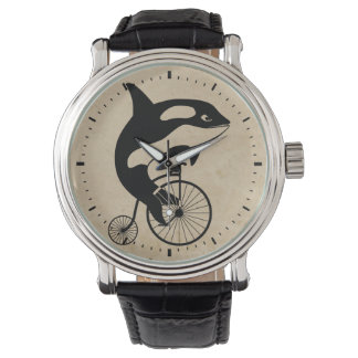 Killer Whale on Vintage Bike Wrist Watch