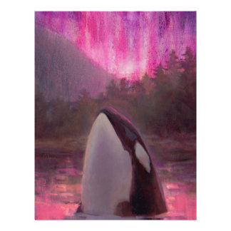 Killer Whale Orca and Pink/Magenta Northern Lights Letterhead