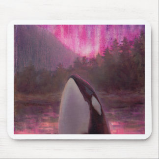Killer Whale Orca and Pink/Magenta Northern Lights Mouse Pad