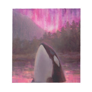Killer Whale Orca and Pink/Magenta Northern Lights Memo Notepads