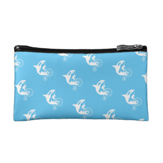 Killer Whale Orca Silhouette Riding Vintage Bike Cosmetic Bag