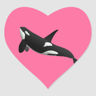 Killer Whale, Orcinus Orca Heart Sticker