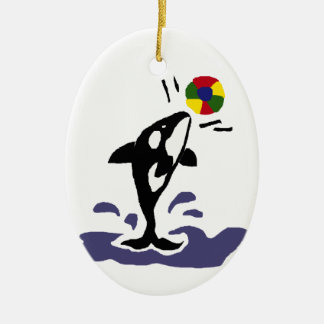 Killer Whale Playing Beachball Double-Sided Oval Ceramic Christmas Ornament