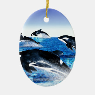 Killer Whale Pod Double-Sided Oval Ceramic Christmas Ornament